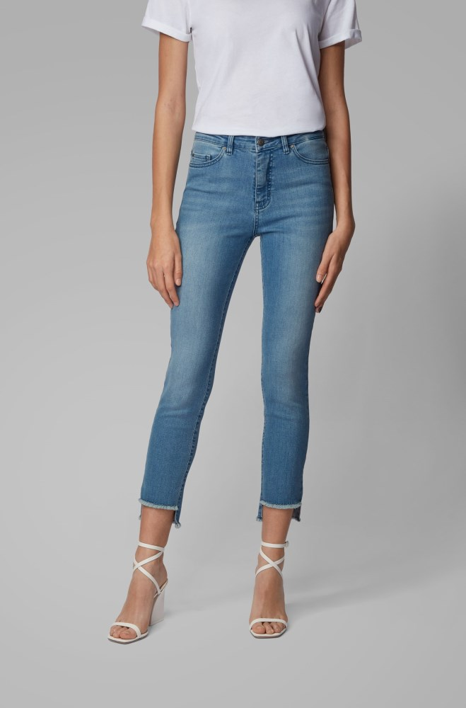 Pantalones Vaqueros Hugo Boss Mujer Outlet Mexico Boss Skinny Fit Jeans With Frayed Hem Detail Azules
