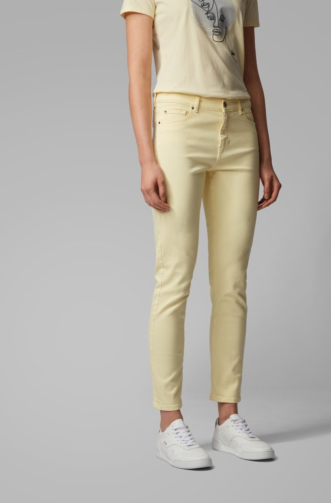 Pantalones Vaqueros Hugo Boss Mujer Queretaro Boss Slim Fit Cropped Jeans In Overdyed Stretch Denim Amarillos Claro