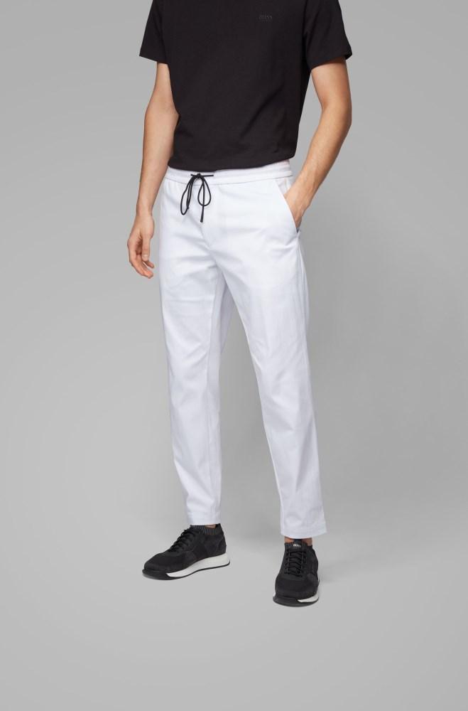 Tienda Pantalones Hugo Boss Hombre Boss Tapered Fit Trousers In Lightweight Poplin With Drawstring Waist Blancos