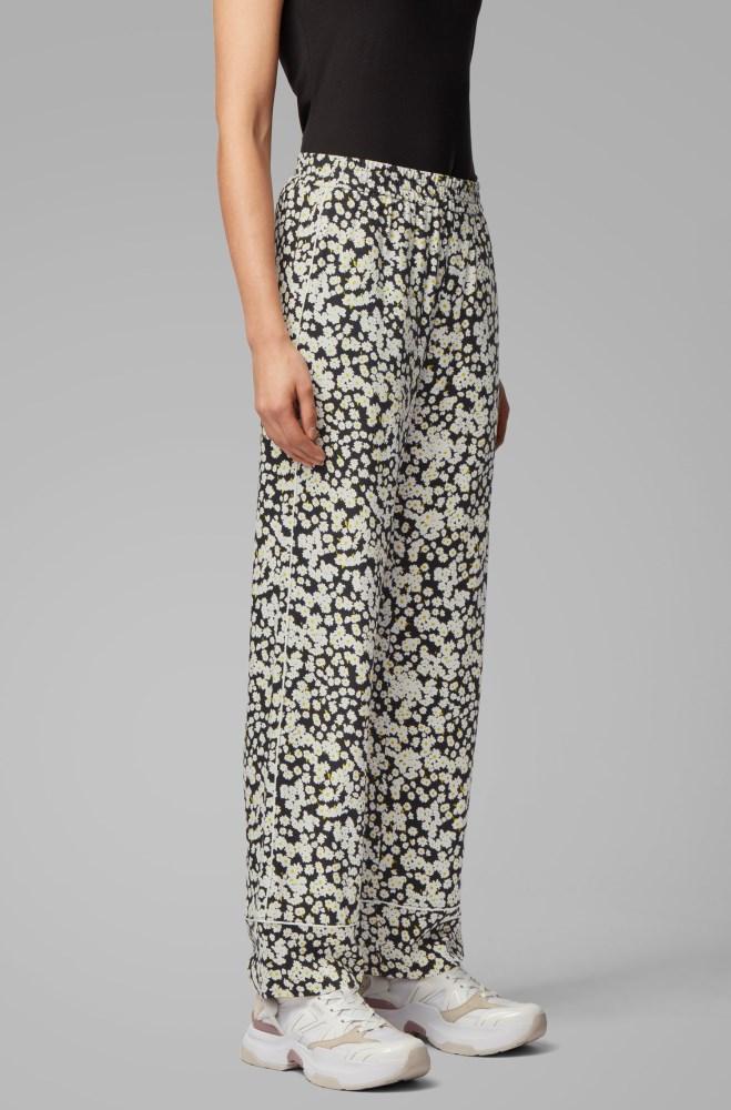 Tienda Pantalones Hugo Boss Mujer Boss Wide Leg Jogging Trousers In Floral Print Fabric Estampado
