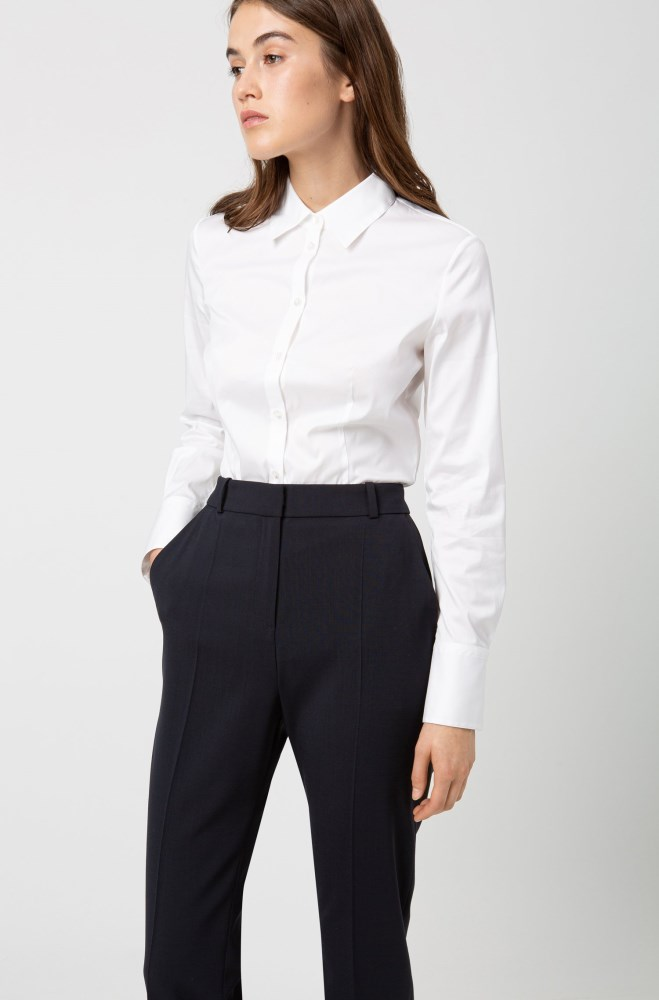 Pantalones Hugo Boss Mujer Economicos Hugo Regular Fit Trousers In Lightly Worsted Stretch Virgin Wool Azules Oscuro