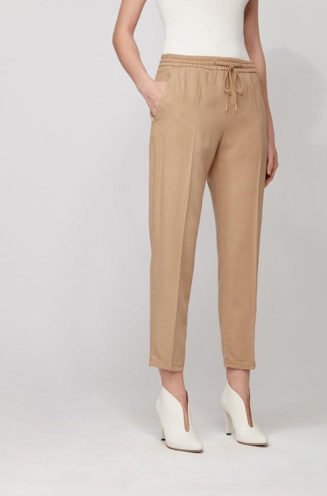 Pantalones Hugo Boss Mujer Altavista Boss Tapered Leg Jogging Trousers In Tencel Lyocell Twill Beige