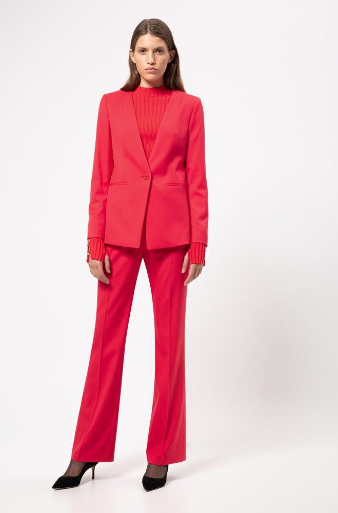 Pantalones Hugo Boss Mujer Rebajas Hugo Regular Fit Jacket In A Long Length Rojos