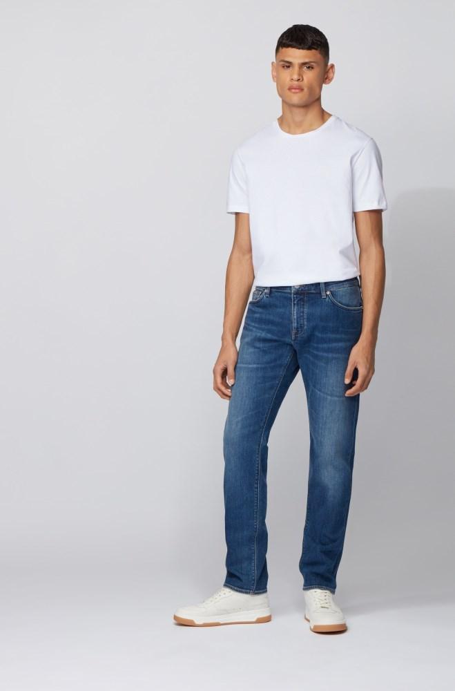 Tienda Pantalones Vaqueros Hugo Boss Hombre Boss Regular Fit Jeans In Mid Blue Italian Denim Azules