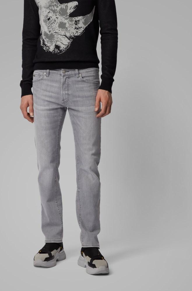 Pantalones Vaqueros Hugo Boss Hombre Precio Mexico Boss Regular Fit Jeans In Grey Super Stretch Denim Grises