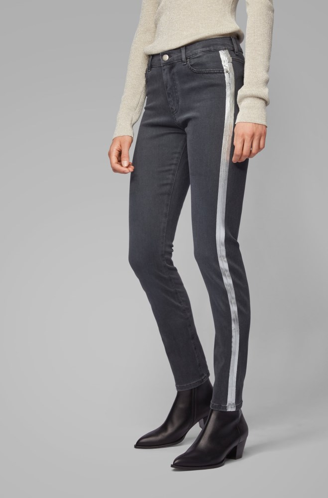 Pantalones Vaqueros Hugo Boss Mujer Baratos Boss Slim Fit Grey Stretch Denim Jeans With Side Seam Stripe Grises Oscuro